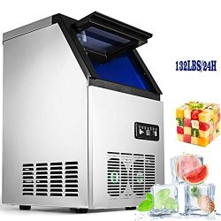 VEVOR 110V Commercial Ice Maker 280W Stainless Steel Ice Cube Maker Machine 132LBs Ice Making Ma ...