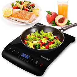 KitchenPROP 1800W LCD Portable Induction Cooktop Countertop Burner for Cooking Countertop Burner ...