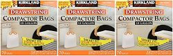 Kirkland Compactor Bags, 18 Gallon, Smart Fit Gripping Drawstring, 70 Count (3 Pack)