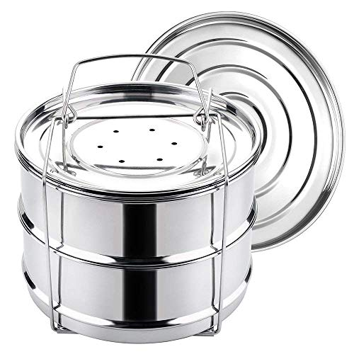 Authenzo Stackable Steamer Insert Pans (Two Layers) with Sling for Instant Pot Accessories Stain ...