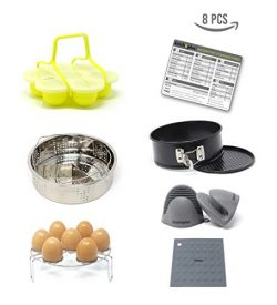 Instant Pot Accessories Set 8 pieces + Bonus Cooking Times Sheet By Kitchnplus – Fits Inst ...