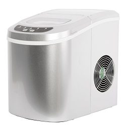 SMETA Portable Counter Top Ice Maker Machine,Produces 26 lb/day Two Ice Cube Sizes,Silver