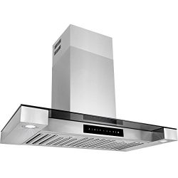 Golden Vantage 30″ Stainless Steel Tempered Glass Wall Mount Style Kitchen Cooking Vent Ra ...