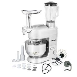 CHEFTRONIC 3 In 1 Upgraded Stand Mixer, 650W Kitchen Mixer SM-1086 with 5.3QT Bowl, Grinder, Ble ...