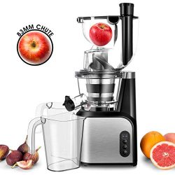 Slow Masticating Juicer Extractor, TOBOX 83mm (3.27inch) Wide Chute Cold Press Juicer with Quiet ...