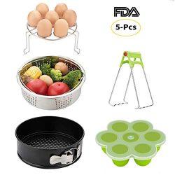 Instant Pot Accessories Set-Fits 5,6,8Qt Instapot Pressure Cooker,5-Pcs with Steamer Basket/Egg  ...