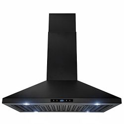 AKDY 30″ Island Mount Black Stainless Steel Touch Panel Kitchen Range Hood Cooking Fan