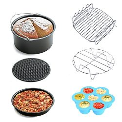 Air Fryer Accessories 6pcs for Gowise Phillips and Cozyna, fit all 3.7QT 5.3QT 5.8QT with 7 Inch ...