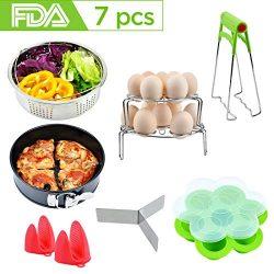 Instant Pot Accessories Set with Steamer Basket, Egg Steamer Racks, Silicone Egg Bites Mold, Non ...