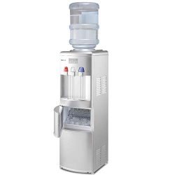 COSTWAY 2-in-1 Water Cooler Dispenser with Built-in Ice Maker Freestanding Hot Cold Top Loading  ...
