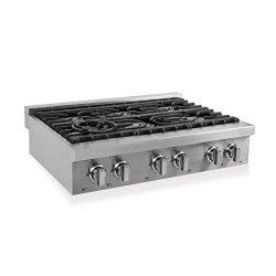 Cosmo COS-GRT366| Pro-Style Slide-In Counter Gas-Cooktop 36 inch | 6 Italian-Made Burner Range-T ...