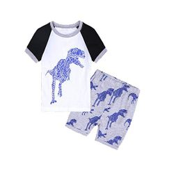 Hot Sale! Toddler Kids Baby Boys Dinosaur Pajamas Cartoon Print T Shirt Tops Shorts Outfits Set  ...