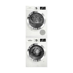 800 Series White Front Load Compact Laundry Stacked Pair with WAT28402UC 24 Washer WTG86402UC 24 ...