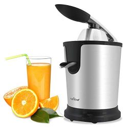 Stainless Steel Electric Juice Press – Citrus Juicer Squeezer Masticating Machine 160W Pow ...