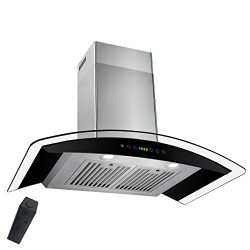 AKDY 36″ Wall Mount Stainless Steel Tempered Glass Touch Panel Kitchen Range Hood Cooking  ...