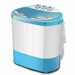 4-EVER Portable Mini Compact Washing Machine Twin Tub Washer and Dryer Combo,Ideal For Dorms Ap ...