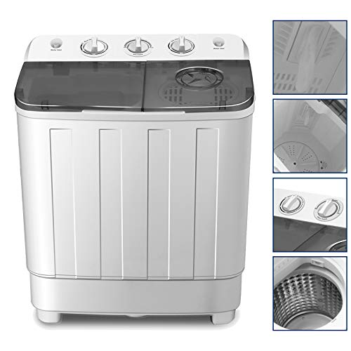 4-EVER Portable Mini Compact Washing Machine Twin Tub Washer and Dryer Combo 17lbs For Dorms Apa ...