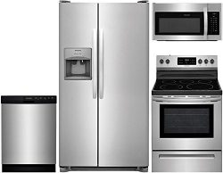 Frigidaire 4-Piece Stainless Steel Kitchen Package with FFSS2615TS 36″ Side-by-Side Refrig ...