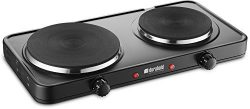 Kitchen Countertop Cast-Iron Double Burner – Stainless Steel Body – Sealed Burners – ...