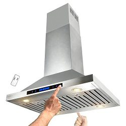 AKDY 30″ Stainless Steel Island Mount Dual LED Touch Control Panel Kitchen Range Hood w/ R ...