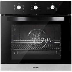 Costway 24″ Built-In Single Wall Oven Electric 2.3 Cu. Ft. Capacity Tempered Glass Multi-F ...