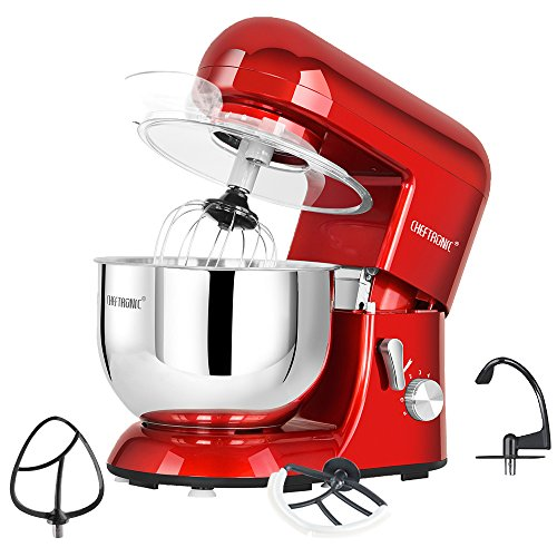 CHEFTRONIC Stand Mixer tilt-head 650W/120V Electric kitchen Mixer with 5.5QT Stainless Bowl, Wir ...