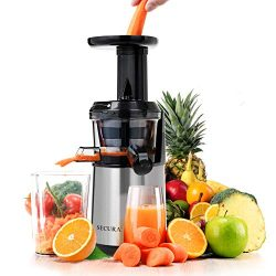 Secura Professional Masticating Juicer Wide Chute Cold Press Slow Juicer Extractor for Higher Nu ...