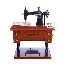 Gbell Mini Vintage Sewing Machine Music Box Toy – Home Table Decoration Ornaments –  ...