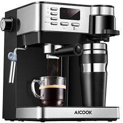 Aicook Espresso and Coffee Machine, 3 in 1 Combination 15Bar Espresso Machine and Single Serve C ...