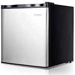 COSTWAY Compact Single Door Upright Freezer – Mini Size with Stainless Steel Door –  ...