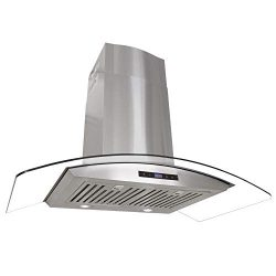 Cosmo 668AS900 36 in. Wall Mount Range Hood with Tempered Glass Visor, Soft Touch Controls, LED  ...