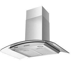 KUPPET NY-750Q Kitchen Bath Collection 30″ Wall Mount Range Hood, Tempered Glass with High ...