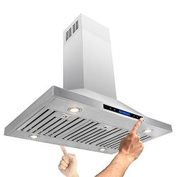 AKDY 36″ Island Mount Stainless Steel Both Side Range Hood W/Baffle Filter Remote Control  ...