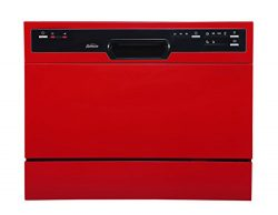 Sunbeam DWSB3607RR Compact Countertop Dishwasher with Rinse Aid Dispenser, Red