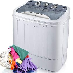 Merax Portable Washing Machine Mini Compact Twin Tub Washer Machine with Wash and Spin Cycle, FC ...