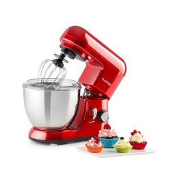 KLARSTEIN Pico • Tilt-Head Stand Mixer • Dough Hook, Flat Beater, Wire Whip • 550 Watts • 4.2 qt ...