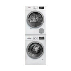 500 Series White Front Load Compact Stacked Laundry Pair with WAT28401UC 24 Washer WTG86401UC 24 ...