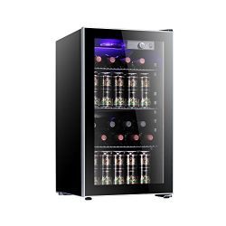 Antarctic Star 26 Bottle Freestanding Wine Cooler with Compressor,Red And White Wine Cellar with ...