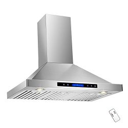 AKDY 36″ Convertible Wall Mount Stainless Steel Ductless/Ventless Range Hood with Remote