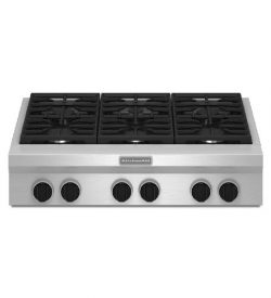 KitchenAid 36″ Gas Rangetop Stainless Steel 6 Burner Commercial-Style KGCU467VSS