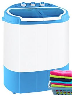 Pyle Portable Washer & Spin Dryer, Mini Washing Machine, Twin Tubs, Spin Cycle w/ Hose, 11lb ...