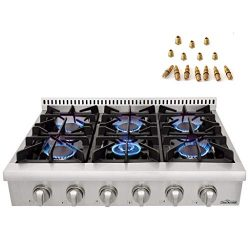 36in. Pro-Style Gas Rangetop with 6 Sealed Burners of Stainless Steel Thorkitchen HRT3618U+ LP C ...