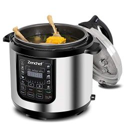 Zenchef 14-in-1 NEWEST 6 Qt Multifunctional Stainless Steel Electric Pressure Cooker 1000W w/LED ...