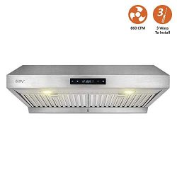BV Touch Screen 860 CFM 30″ Stainless Steel Under Cabinet Ducted (3 Installation Ways) Kit ...