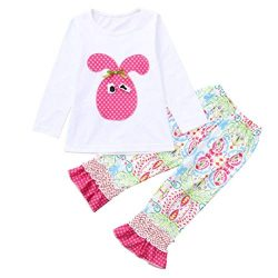 1-6 Years Toddler Kids Baby Girls Long Sleeve Little Animals Top T Shirt+ Cute Floral Pants Clot ...