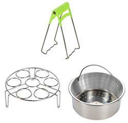 Steamer Basket Rack Set for Instant Pot Accessories – Fits Instant Pot 5, 6, 8qt Pressure  ...