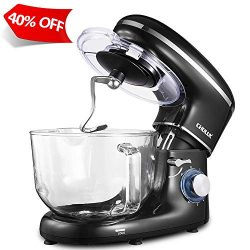 CHULUX Electric Stand Mixer, 660W Tilt-Head Kitchen Electric Food Mixer with Low Noisy, 5.5Qt Gl ...