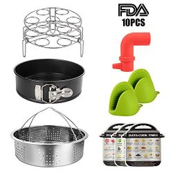 10 Pieces Instant Pot Accessories- Kitchen Wares with Springform Pan, Eggs Racks, Steamer Basket ...