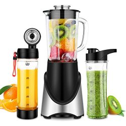 3 in 1 Personal Blender Vacuum for Smoothies Shakes, Powerful 300W(24,000RMP) 6 Sharp Blades, Sm ...