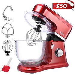 【Upgraded】Betitay Electric Stand Mixer wth 4.0-Quart Glass Bowl, 6 Speeds Adjusted + Pulse Fun ...